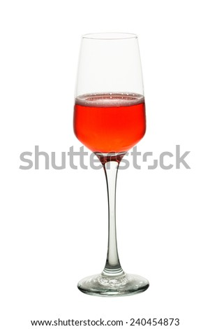 a glass of wine isolate on white clipping path