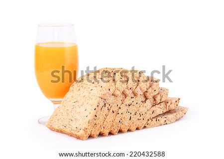 A Glass  Orange juice with  bread slice on white background