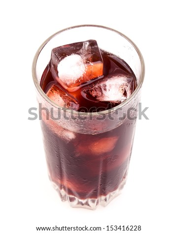 a glass with a cocktail isolated on white background - stock photo