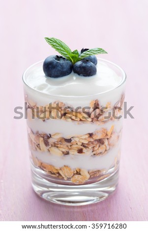 A glass with fresh yogurt, cereals, blueberry and mint. - stock photo