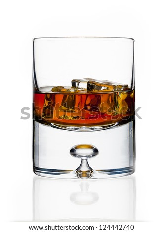 A glass with ice cubes and an amber liquid inside.