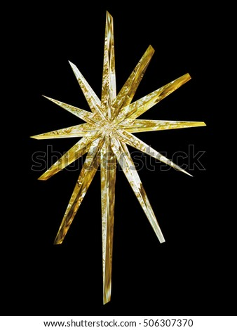 A gleaming Christmas golden star design isolated on a black background