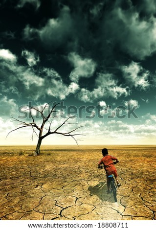 A global warming illustration with a boy drive a bike in desert.