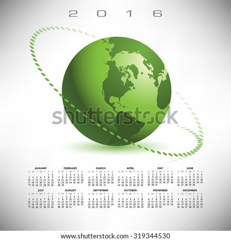 A 2016 globe calendar print or web - stock photo