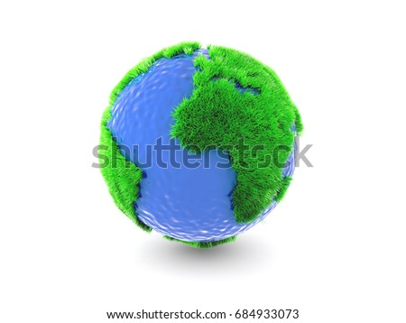 A globe covered with green grass and blue ocean, on white. 3d rendering.