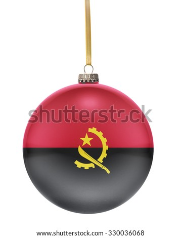 A glossy christmas ball in the national colors of Angola hanging on a golden string isolated on a white background.(series) - stock photo