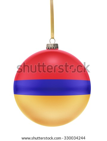A glossy christmas ball in the national colors of Armenia hanging on a golden string isolated on a white background.(series) - stock photo