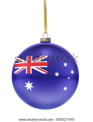 A glossy christmas ball in the national colors of Australia hanging on a golden string isolated on a white background.(series) - stock photo