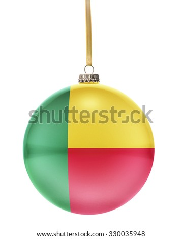 A glossy christmas ball in the national colors of Benin hanging on a golden string isolated on a white background.(series) - stock photo