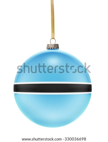 A glossy christmas ball in the national colors of Botswana hanging on a golden string isolated on a white background.(series) - stock photo