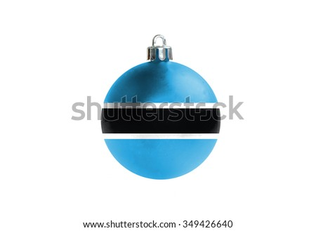 A glossy christmas ball in the national colors of Botswana isolated on a white background.