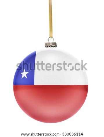 A glossy christmas ball in the national colors of Chile hanging on a golden string isolated on a white background.(series) - stock photo