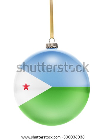 A glossy christmas ball in the national colors of Djibouti hanging on a golden string isolated on a white background.(series) - stock photo