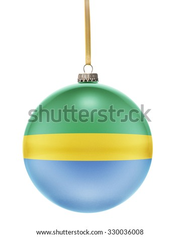 A glossy christmas ball in the national colors of Gabon hanging on a golden string isolated on a white background.(series) - stock photo