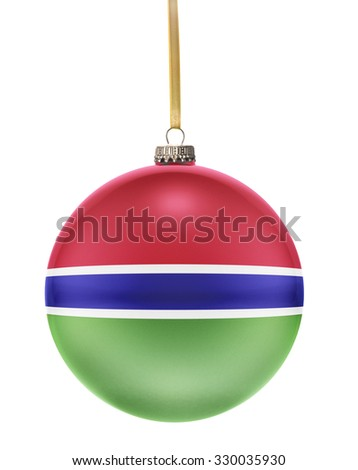 A glossy christmas ball in the national colors of Gambia hanging on a golden string isolated on a white background.(series) - stock photo
