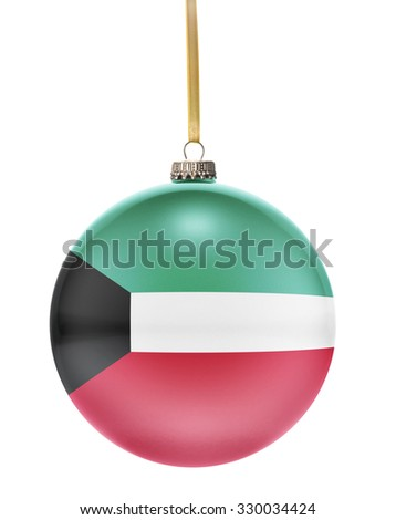 A glossy christmas ball in the national colors of Kuwait hanging on a golden string isolated on a white background.(series) - stock photo