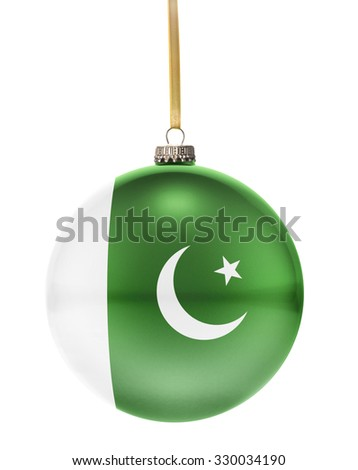 A glossy christmas ball in the national colors of Pakistan hanging on a golden string isolated on a white background.(series) - stock photo
