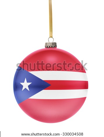 A glossy christmas ball in the national colors of Puerto Rico hanging on a golden string isolated on a white background.(series) - stock photo