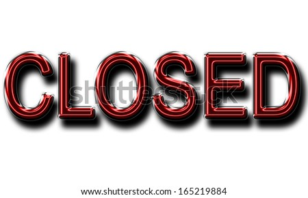 A glowing CLOSED sign in red for use as a store sign or design element.