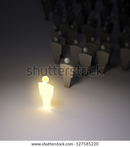 A glowing 3d figure standing out of the crowd. - stock photo