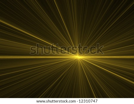 A glowing fractal explosion coming from a bright horizon. - stock photo