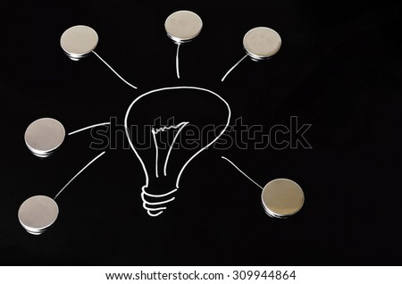 A glowing light bulb on black background drawn. Symbol of ideas, concepts and creativity. - stock photo