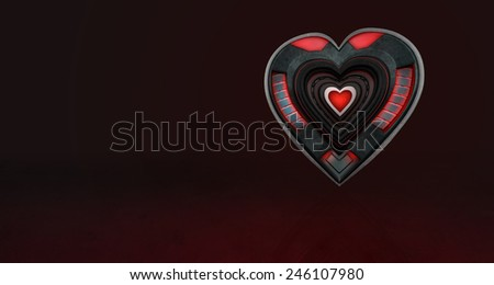 A glowing mechanical metal heart for an alternative Valentines day design - stock photo