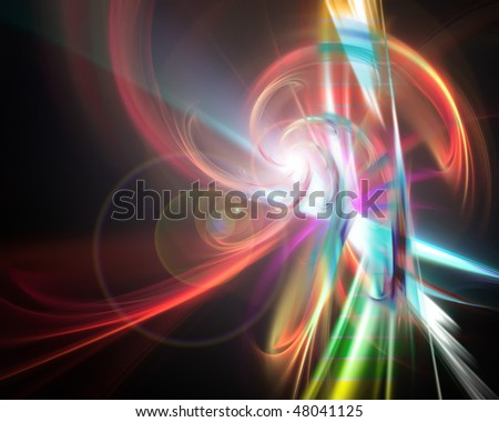 A glowing rainbow fractal art illustration that works great as a background. - stock photo