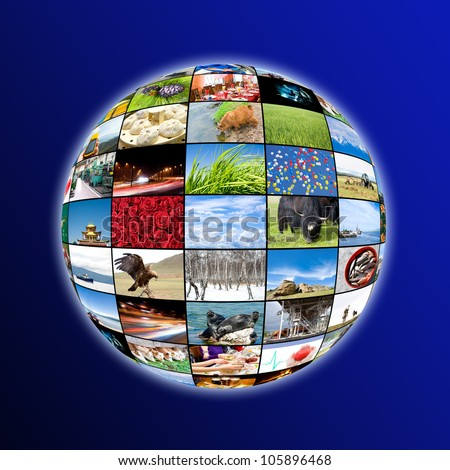 a glowing sphere of many photos, collage of photos by the author - stock photo