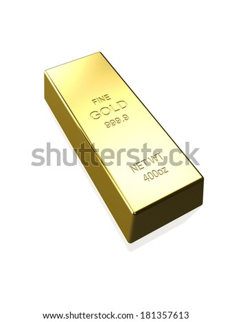 A gold bar isolated on a white background.