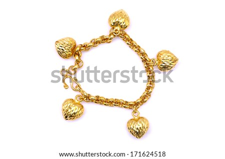 A Gold Bracelet Over White Background