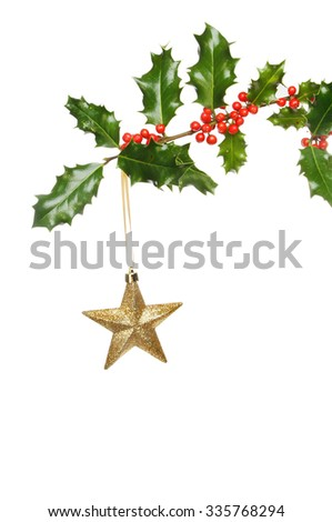 A gold Christmas star hanging from a Holly branch isolated against white - stock photo