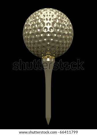 A gold coloured golf ball and tee.