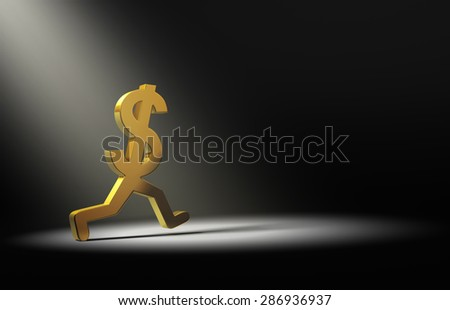 A gold dollar sign is caught in the spot light as it runs away.