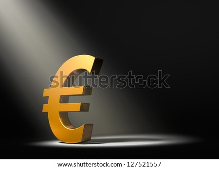 A gold Euro symbol on a black background and illuminated by a single, yellow spotlight.