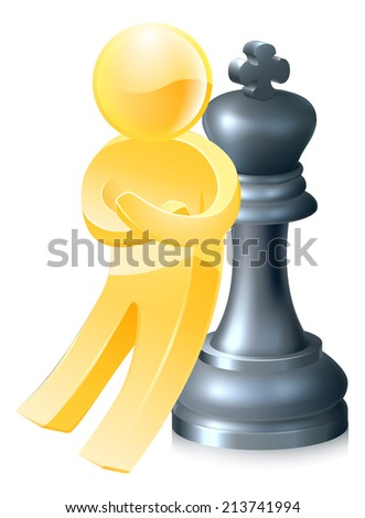 A gold figure leaning on a king chess piece with arms folded. Concept for success - stock photo