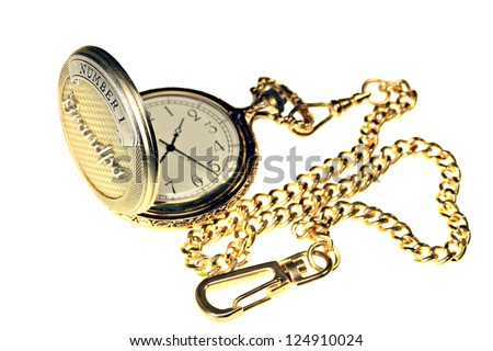 A gold fob watch with chain isolated on white
