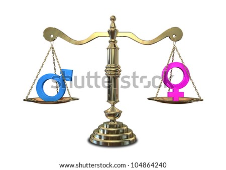 A gold justice scale with the two different gender symbols on either side balancing each other out - stock photo
