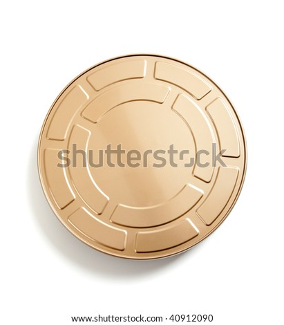 a Gold movie film canister on a white background - stock photo