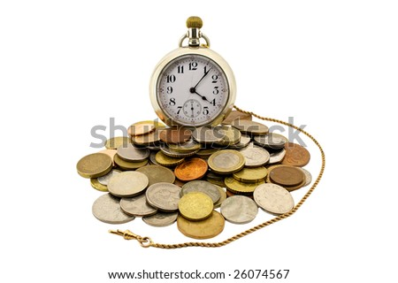 a gold pocket watch with a gold chain surrounded by coins of the world exhibiting that time is money - stock photo