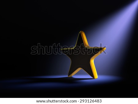 A gold star on a dark background is dramatically lit from behind and above by a pale purple spotlight.
