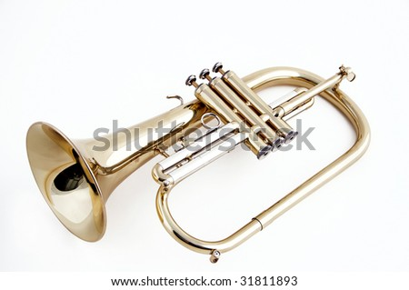 A gold trumpet flugelhorn isolated against a white background in the horizontal format.