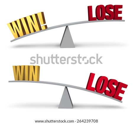"""A gold """"WIN"""" and red """"LOSE"""" sit on opposite ends of a gray balance board. In one image, """"WIN!"""" outweighs """"LOSE"""" in the other, """"LOSE"""" outweighs """"WIN"""". Isolated on white. - stock photo"""