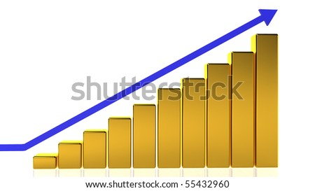 A golden bar graph showing a steady rise with a blue arrow. - stock photo
