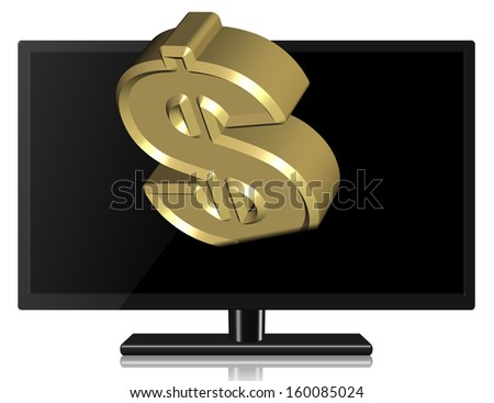 A golden dollar symbol coming from black widescreen TV / Pay TV - stock photo