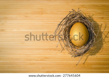 A golden egg in a bird nest on a wooden board ( focus on egg) :  A golden egg opportunity concept of wealth and a chance to be rich  - stock photo