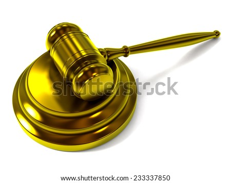 A Golden Judge Gavel and Soundboard Isolated on White Background. Perspective View.  - stock photo