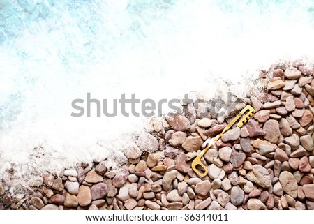 a golden key lying on the shore - stock photo