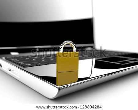 A golden lock on a laptop isolated on a white background: Online security concept