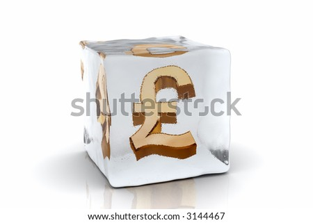 A golden Pound symbol frozen inside an ice cube (3D rendering) - stock photo